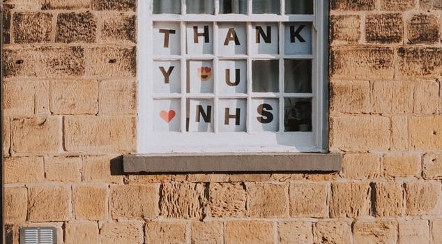 'Thank you NHS' posters in Window