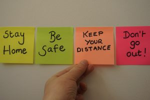 Stay Home, Be Safe post-its