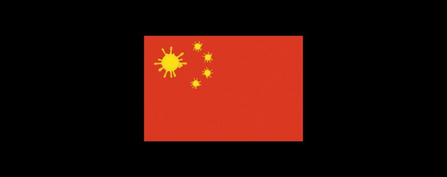 Chinese Flag with Virus Spores