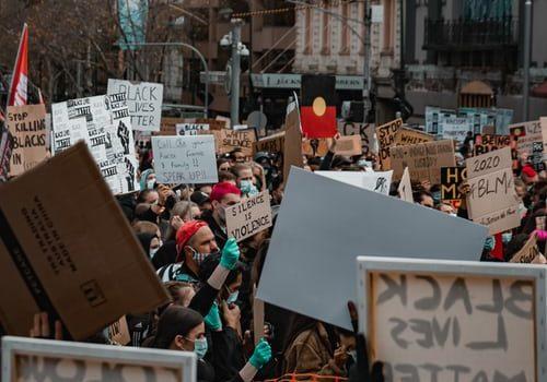 BLM Protestors wearing Facemasks