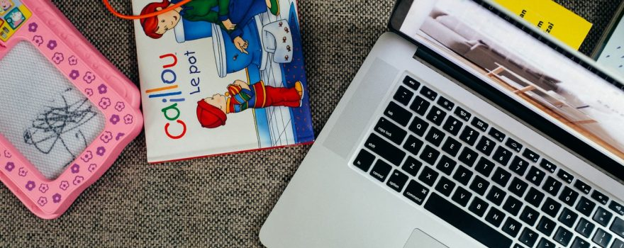 Laptop and Children's Toys
