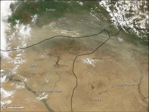 Figure 2: Dust Storms in Iraq-Syria (2010 NASA Satellite)