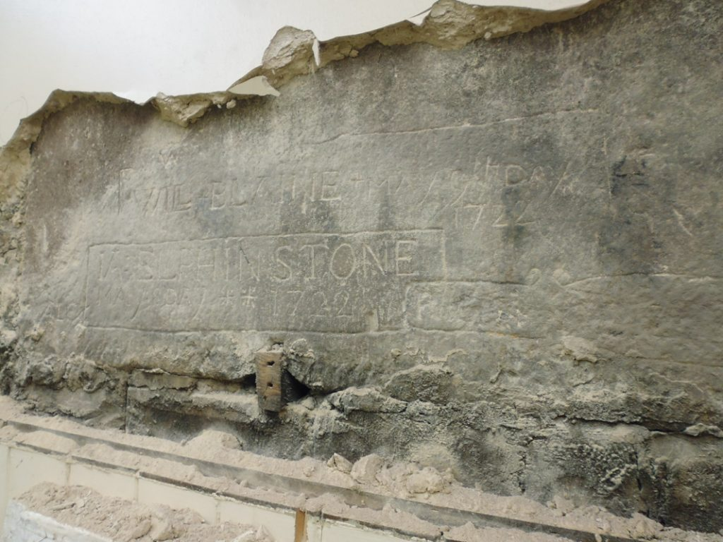 18th century grafitti found engraved into a fireplace lintel