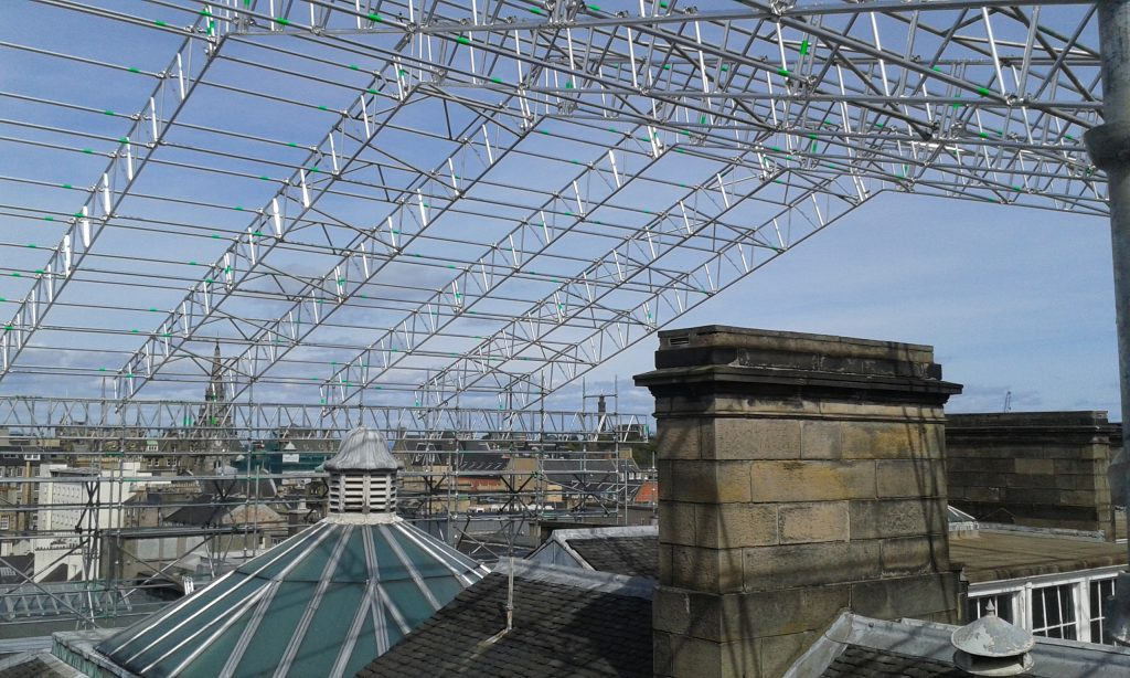 View of the Southside of Edinburgh from the scaffolding.